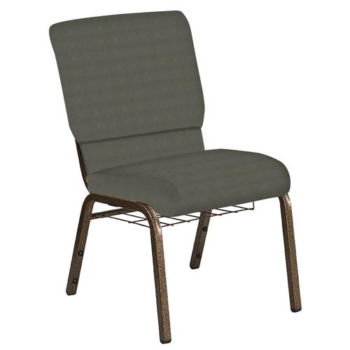 Flash Furniture - 18.5''W Church Chair in Harmony Gray Fabric with Book Rack - Gold Vein Frame