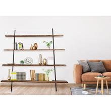 Hanover Lille Acacia Wood and Iron Leaner Bookshelf, 80-In. W x 11-In. D x 70-In. H, HLR005-NAT