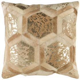 Maggie Metallic Cowhide Pillow - Beige / Gold