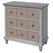 MONTAUK CHEST  30in X 34in X 16in  Montauk Inspired Three Drawer Chest with Caning and Rope Featur