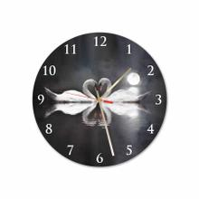 Swan In Love Round Acrylic Wall Clock