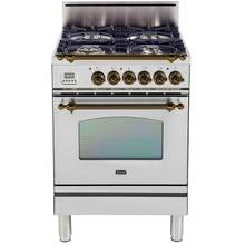 Product Image - Nostalgie 24 Inch Gas Natural Gas Freestanding Range in Stainless Steel with Bronze Trim
