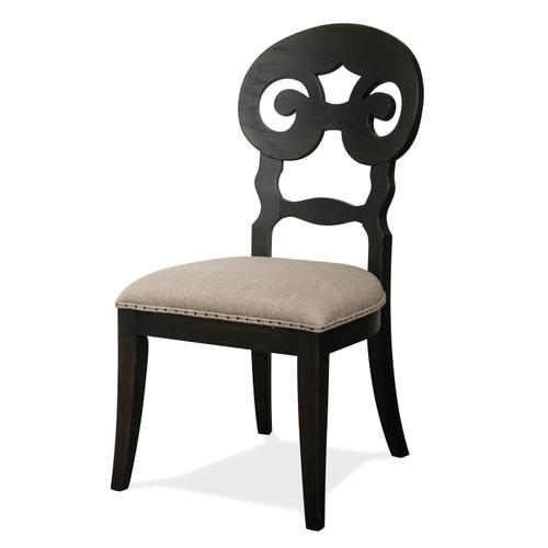 Mix-n-match Chairs - Scroll Back Upholstered Side Chair - Rubbed Black Finish