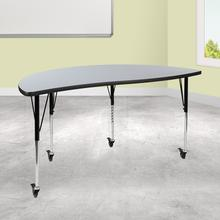 "Mobile 60"" Half Circle Wave Collaborative Grey Thermal Laminate Activity Table - Standard Height Adjustable Legs"