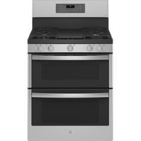 """GE Profile™ 30"""" Free-Standing Gas Double Oven Convection Fingerprint Resistant Range with No Preheat Air Fry"""
