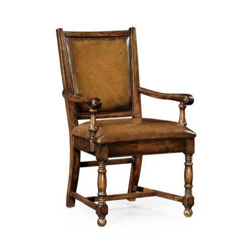Walnut country armchair medium antique chestnut leather upholstery