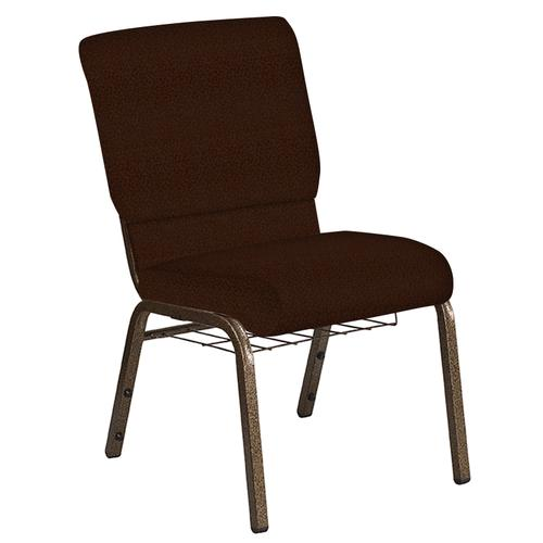 Flash Furniture - 18.5''W Church Chair in Old World Rustic Brown Fabric with Book Rack - Gold Vein Frame