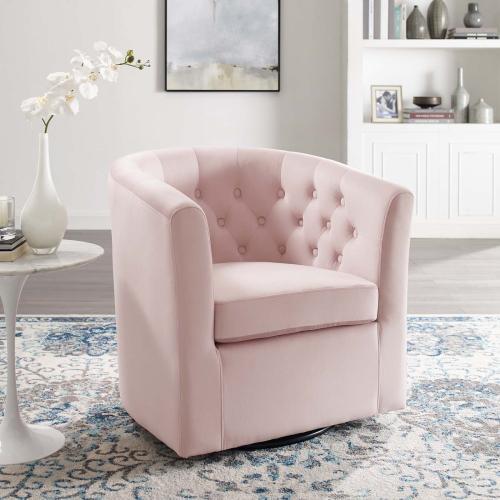 Prospect Tufted Performance Velvet Swivel Armchair in Pink