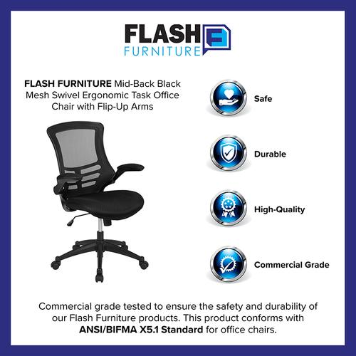 Gallery - Mid-Back Black Mesh Swivel Ergonomic Task Office Chair with Flip-Up Arms, BIFMA Certified