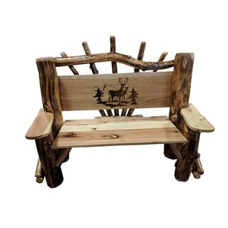 Amish 4 Ft. Park Bench W/deer Scene-oak/aspen