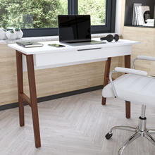 See Details - Home Office Writing Computer Desk with Drawer - Table Desk for Writing and Work, White\/Walnut