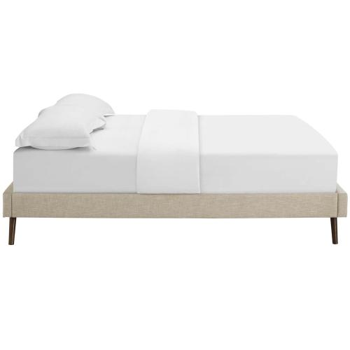Loryn Full Fabric Bed Frame with Round Splayed Legs in Beige
