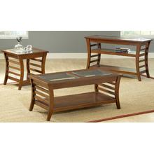 See Details - Brown Cherry Ladder Side Sofa Table W/ Shelf