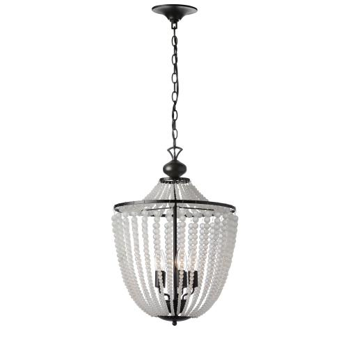 Product Image - 5lt Incan Chandelier Matte Black W/ Frosted Beads