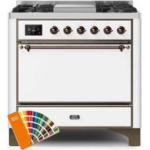 See Details - Majestic II 36 Inch Dual Fuel Natural Gas Freestanding Range in Custom RAL Color with Bronze Trim