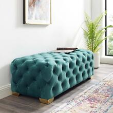 Sensible Button Tufted Performance Velvet Bench in Teal