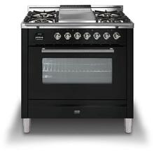 36 Inch Glossy Black Natural Gas Freestanding Range
