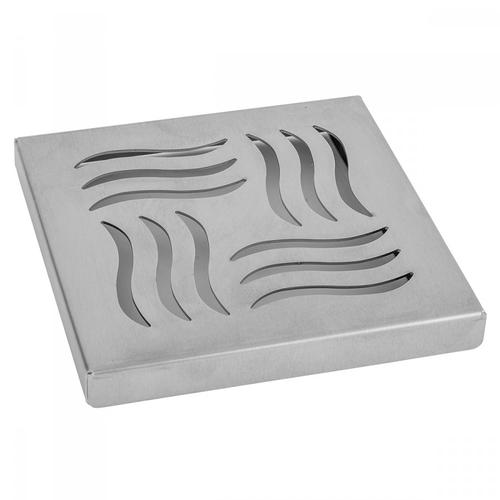 """Product Image - Brushed Stainless - 6"""" x 6"""" Wave Channel Drain Grate"""