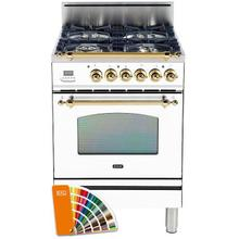 Nostalgie 24 Inch Gas Natural Gas Freestanding Range in Custom RAL Color with Brass Trim