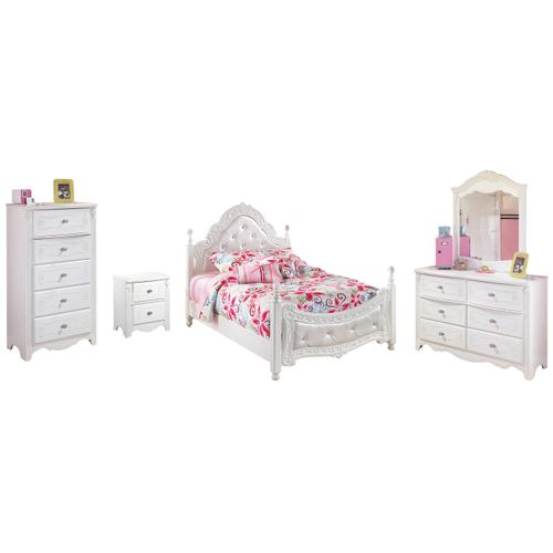 Full Poster Bed With Mirrored Dresser, Chest and Nightstand