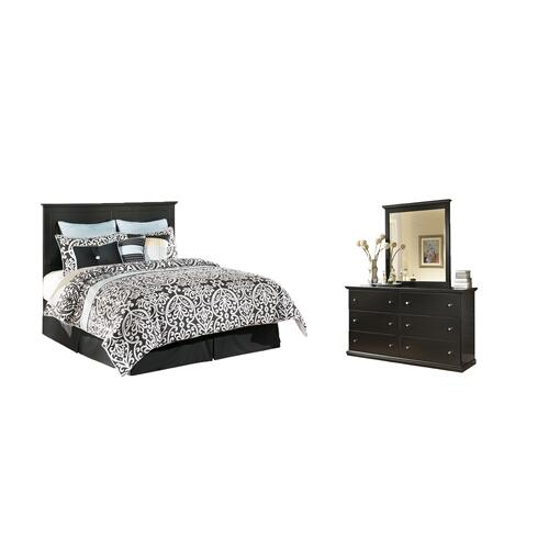Queen/full Panel Headboard With Mirrored Dresser and Chest