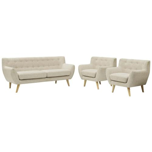 Remark 3 Piece Living Room Set in Beige