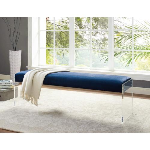 Tov Furniture - Envy Blue Velvet/Acrylic Bench