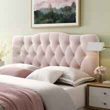 Annabel Queen Diamond Tufted Performance Velvet Headboard in Pink