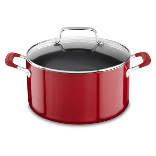 Aluminum Nonstick 8Q Stockpot with Lid - Empire Red