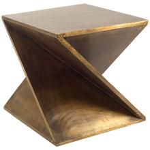Zelda 20L x 20W Gold Z-Shaped Wooden Accent Table