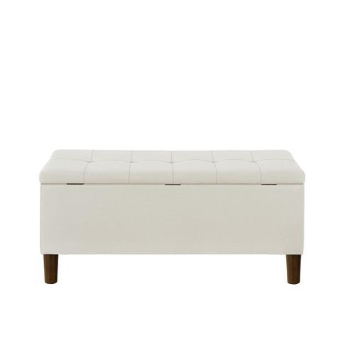 42 Inch Hinged Top Storage Bench w/ Grid-Tufted Seat in Cream