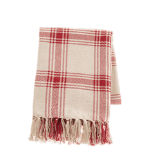 See Details - Red & Natural Plaid Woven Throw