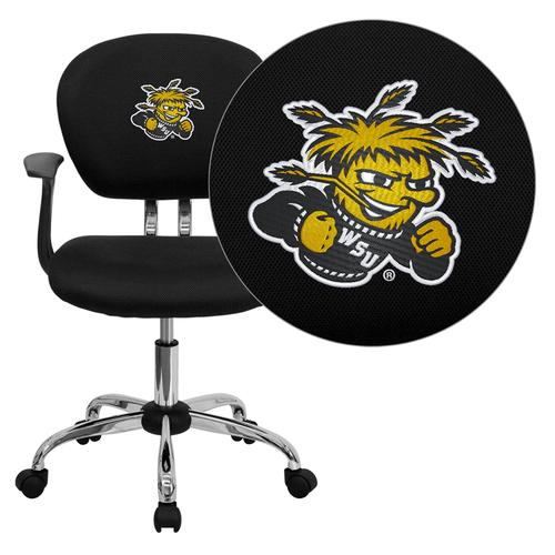 Wichita State University Shockers Embroidered Black Mesh Task Chair with Arms and Chrome Base