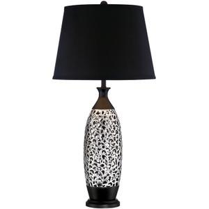 Table Lamp, Chrome/black W/black Fabric Shade, E27 Cfl 23w