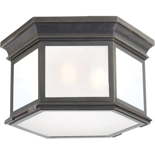 Visual Comfort CHC4126BZ-FG E. F. Chapman Club 3 Light 16 inch Bronze Flush Mount Ceiling Light in Frosted Glass