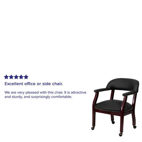 Gallery - Black LeatherSoft Conference Chair with Accent Nail Trim and Casters