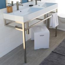 Floor-standing metal console stand with a towel bar (Bathroom Sink 5234 sold separately), made of stainless steel or brass. It must be attached to wall.