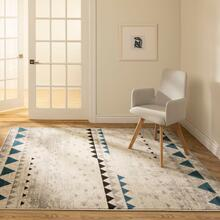 See Details - Step One - Geometric Triangles Area Rug, Beige and Blue, 5' x 7'