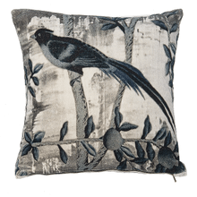 Velvet Blue Bird Pillow