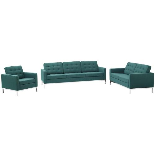 Loft 3 Piece Upholstered Fabric Sofa Loveseat and Armchair Set in Teal