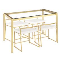 See Details - Fuji Dinette Set - Gold Metal, Clear Glass, White Velvet