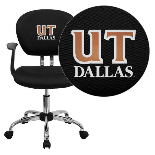 Texas at Dallas Comets Embroidered Black Mesh Task Chair with Arms and Chrome Base