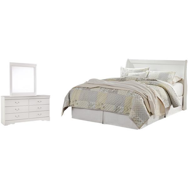See Details - Queen Sleigh Headboard With Mirrored Dresser