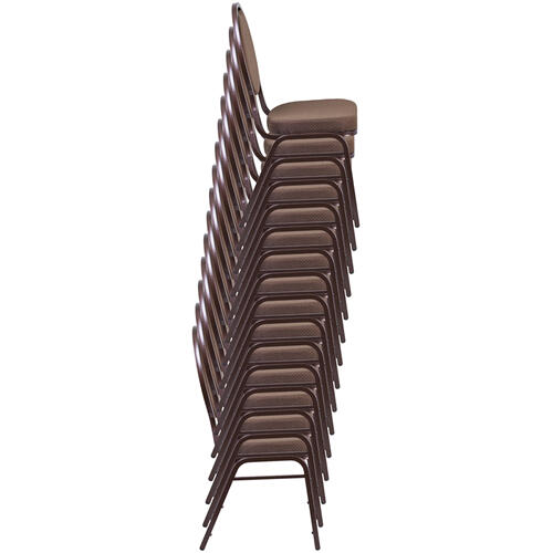 HERCULES Series Teardrop Back Stacking Banquet Chair in Beige Patterned Fabric - Gold Frame