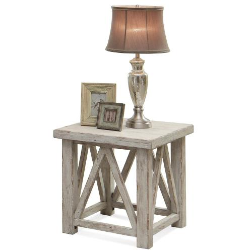 Aberdeen - Side Table - Weathered Worn White Finish