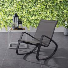 Traveler Rocking Outdoor Patio Mesh Sling Lounge Chair in Black Black