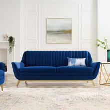 Winsome Channel Tufted Performance Velvet Sofa in Navy