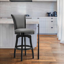 "Raleigh 30"" Bar Height Swivel Barstool in Black Finish and Gray Faux Leather"