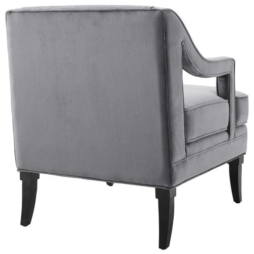 Modway - Concur Button Tufted Performance Velvet Armchair in Gray