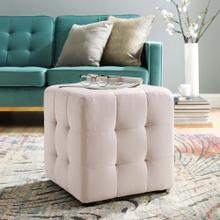 Contour Tufted Button Cube Performance Velvet Ottoman in Pink